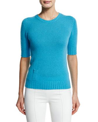 Cashmere Sweater W/Lipstick Pocket, Turquoise