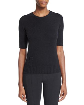 Cashmere Sweater W/Lipstick Pocket & Skinny Side-Zip Pants