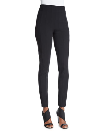 Skinny Side-Zip Pants, Black