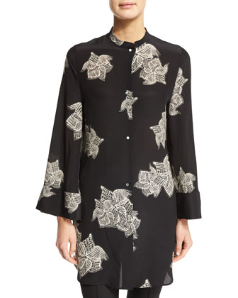 Floral Silk Crepe Bell-Sleeve Tunic, Black/White