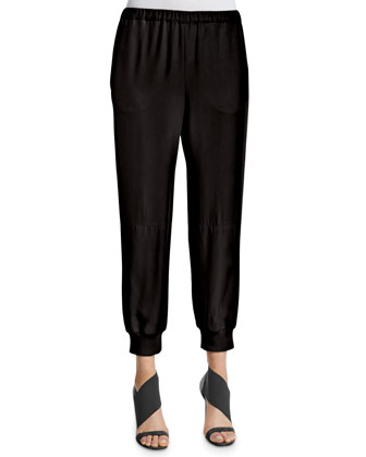 Elastic-Waist Jogging Pants, Black