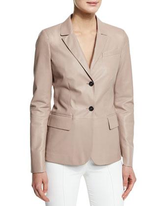 Classic Leather Blazer, Cipria Blush