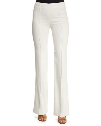 Mid-Rise Flare-Leg Trousers, Ivory