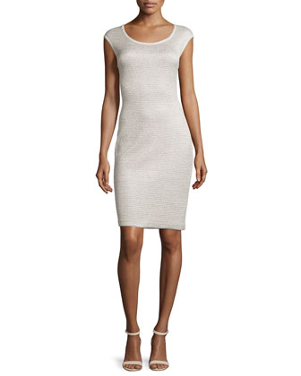 Allure Knit Scoop-Neck Cap-Sleeve Sheath Dress, Champagne