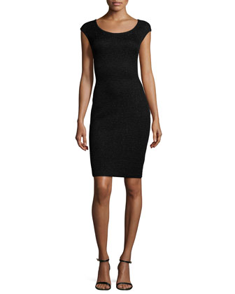 Allure Knit Scoop-Neck Cap-Sleeve Sheath Dress, Caviar