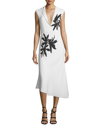 Sleeveless Floral-Print Midi Dress, White/Black