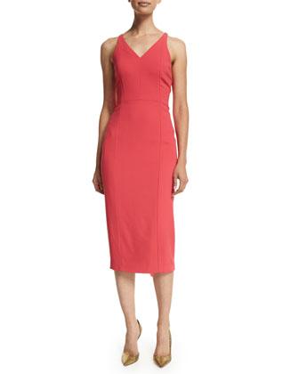 Sleeveless Crisscross Back Sheath Dress, Poppy