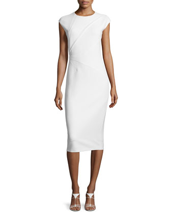 Darted Woven Cap-Sleeve Sheath Dress, White