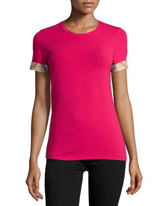 Long Check-Cuff Short-Sleeve Tee, Pink