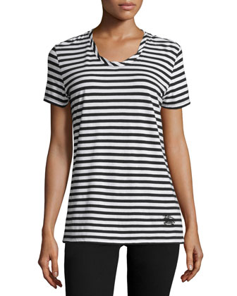 Short-Sleeve Striped Tee, Black/White