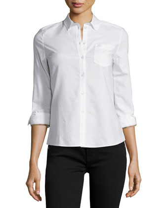 Long-Sleeve Oxford Shirt, White