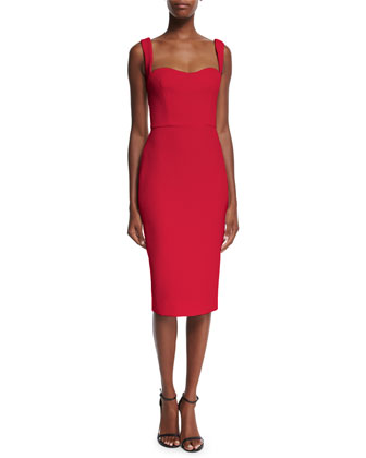 Sleeveless Sweetheart-Neck Sheath Dress, Red