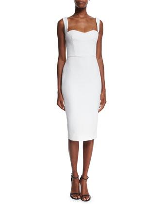 Sleeveless Sweetheart-Neck Dress, White
