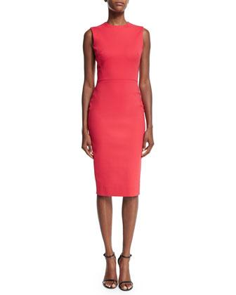 Sleeveless Jewel-Neck Sheath Dress, Red