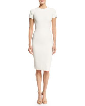 Short-Sleeve T-Shirt Sheath Dress, Cream