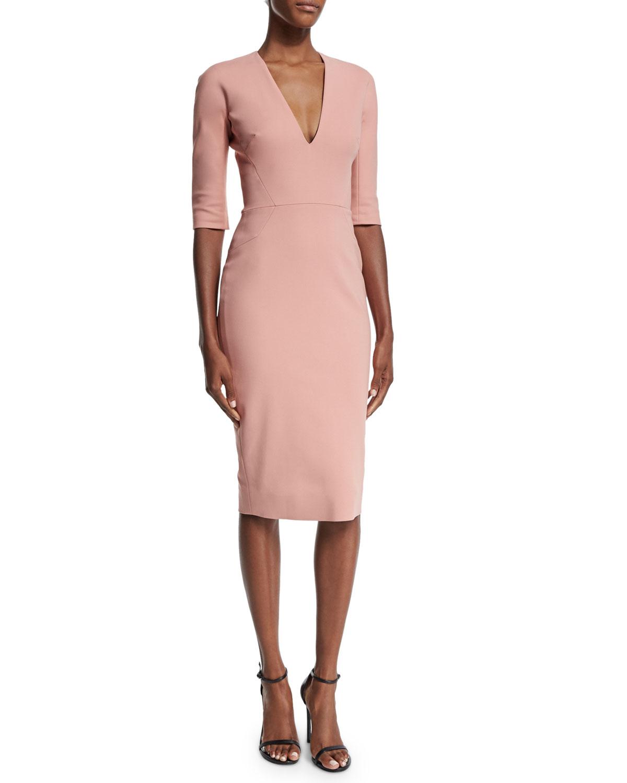 Half-Sleeve V-Neck Sheath Dress, Blush Pink, Size: UK10/US6 - Victoria Beckham