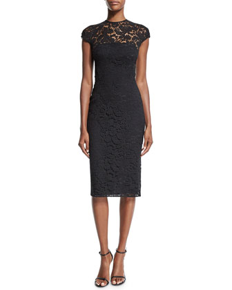 Jewel-Neck Cap-Sleeve Lace Dress, Black