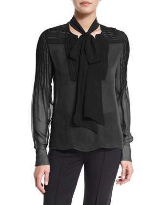 Long-Sleeve Pintuck Blouse W/Tie Neck, Black