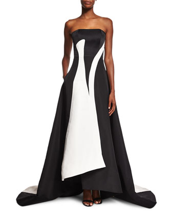 Strapless Colorblock A-Line Gown, Black/White