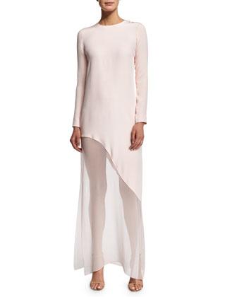 Long-Sleeve Asymmetric-Hem Gown, Shell