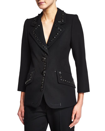 3/4-Sleeve Jacket W/Embellished Trim, Black