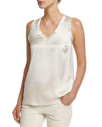 Simple V-Neck Satin Tank, Vanilla