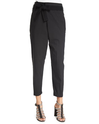 Crossover Belted Cropped Pants, Black