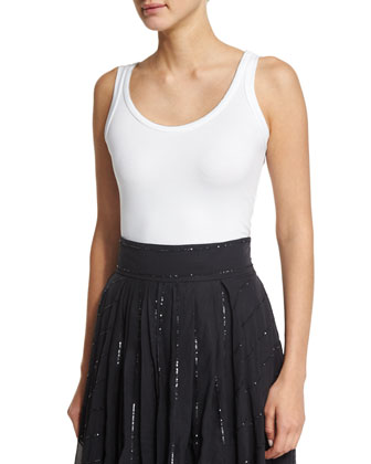 Monili-Trim Scoop-Neck Tank, White