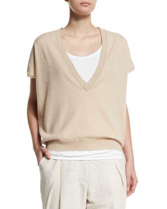 Short-Sleeve Boyfriend Cashmere Pullover Top, Twine