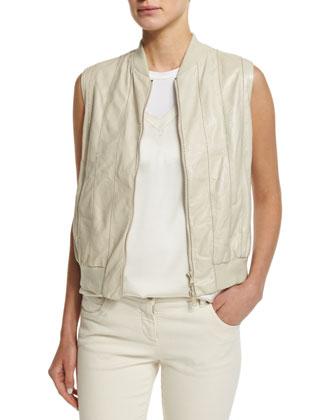 Zip-Front Leather Vest W/Monili Trim, Oat