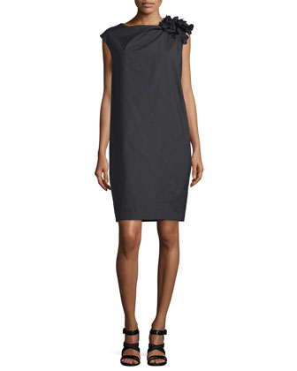 Gathered-Shoulder Shift Dress, Black