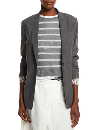 Lace-Cuff One-Button Blazer, Charcoal