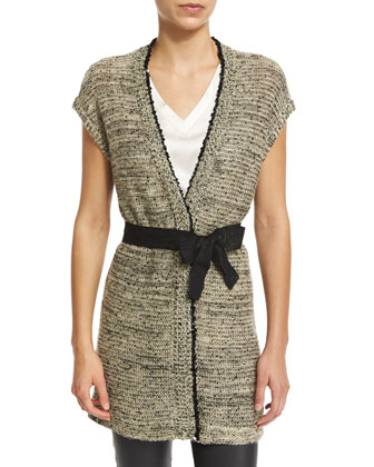 Belted Vest W/Sequined Trim, Butter/Black
