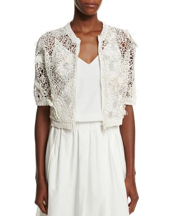 Half-Sleeve Monili-Embroidered Cardigan, Vanilla