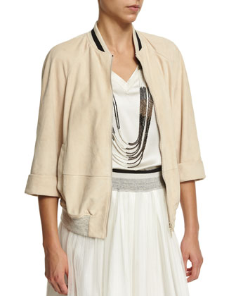 3/4-Sleeve Contrast-Trim Bomber Jacket, Butter