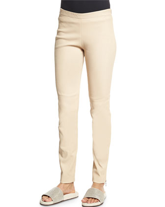 Ankle-Zip Skinny Leather Pants, Twine