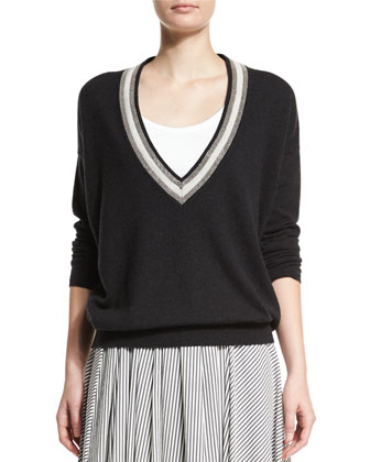 Long-Sleeve Monili-Trim Cashmere Pullover, Onyx
