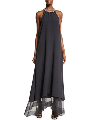 Monili-Trim Accordion-Neck Trapeze Gown, Volcano