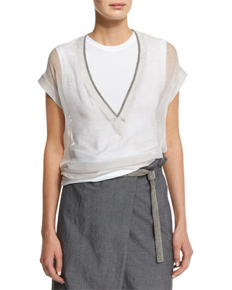 Monili-Trim V-Neck Sheer Top W/Tank, Necklace & Crossover Wide-Leg Cropped ...