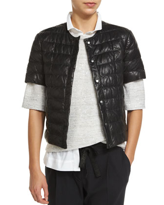 Short-Sleeve Leather Puffer Jacket, Graphite