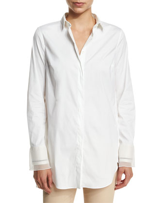 Long-Sleeve Button-Front Tunic with Cuff Detail, White