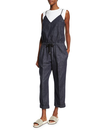 Sleeveless Drawstring-Waist Jumpsuit, Denim