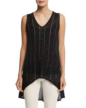 Sleeveless Metallic-Striped Tunic Top, Black