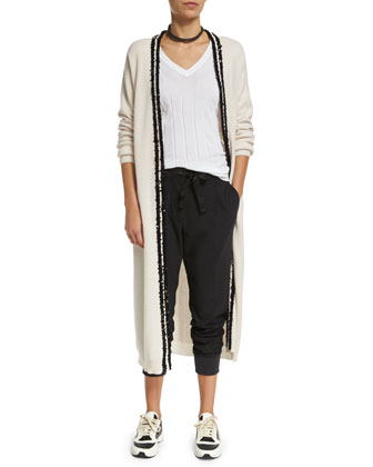 Paillette-Trim Cashmere Cardigan, Monili-Trim V-Neck Ribbed Tee, Necklace & ...