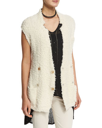 Sleeveless Double-Breasted Belted Cardigan, Butter