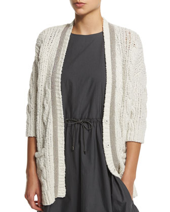 Monili-Trim Cable-Knit Cardigan, Vanilla