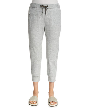 Monili-Trim Spa Pants, Light Gray