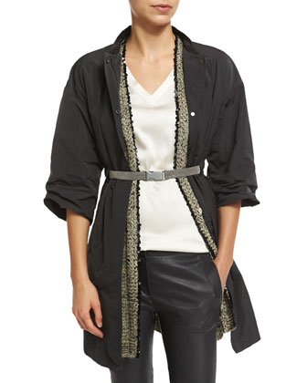 Snap-Front Jacket W/Monili Belt, Belted Vest W/Sequined Trim, Simple V-Neck ...