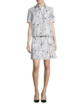 Short-Sleeve Scribble-Print Shirtdress, Chalk/Black