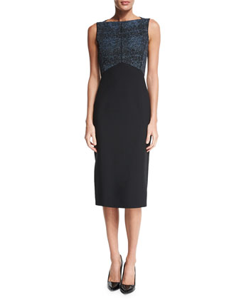 Sleeveless Two-Tone Sheath Dress, Black